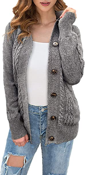 OmicGot Women's Hooded Knit Button Cable Cardigans Sweaters Coats with Pockets