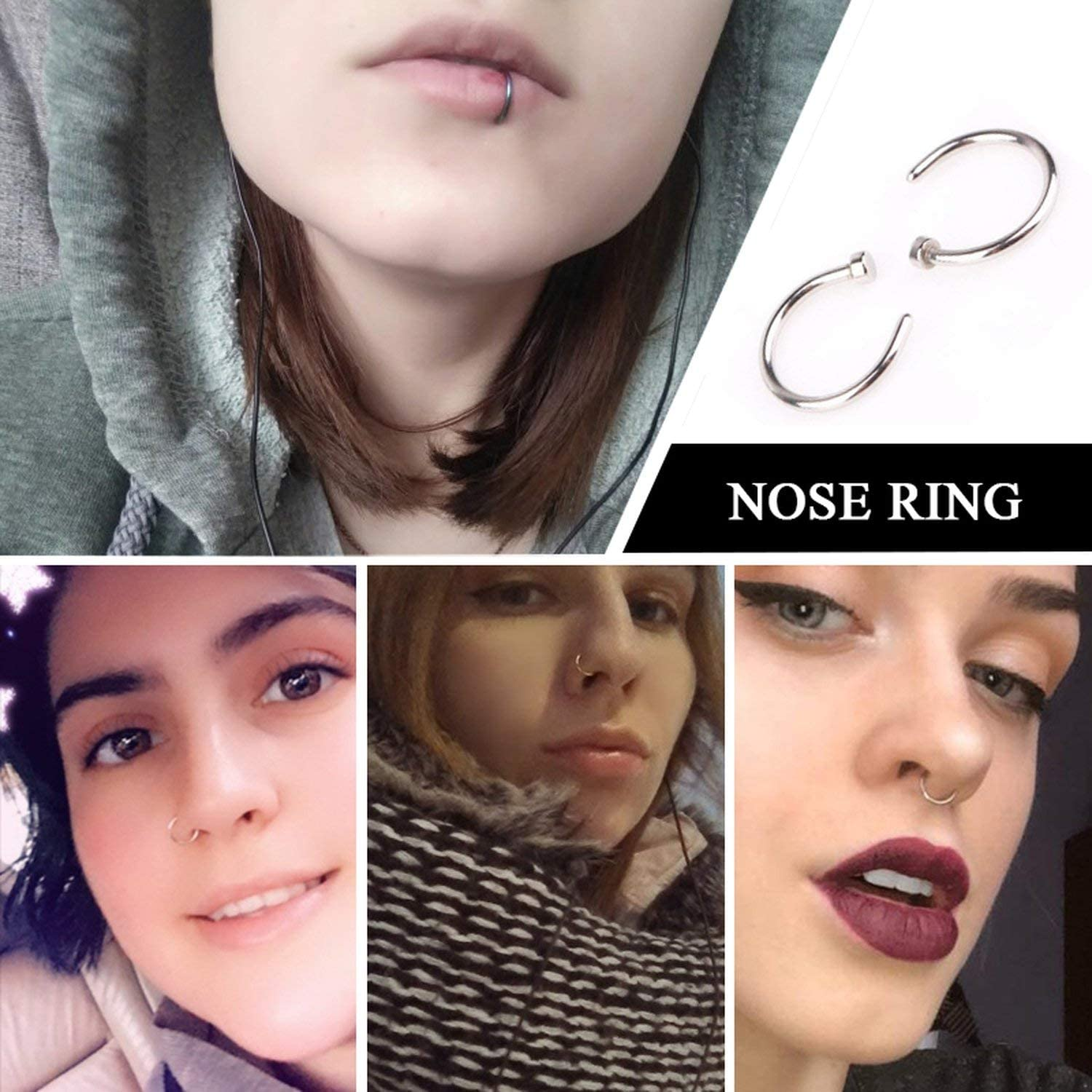Nose Ring Silver Gold Body Clip Hoop For Women Septum Piercing Clip Jewelry Gift 1pc