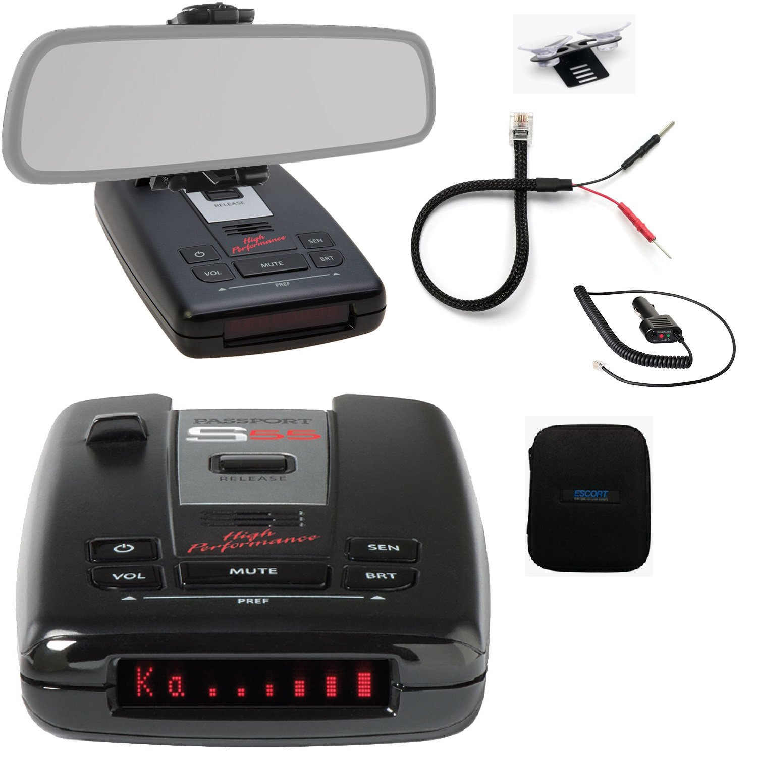 Escort Passport S55 Pro Radar and Laser Detector with DSP (High-Intensity Red Display) and Complete Mirror Mount Kit by Escort