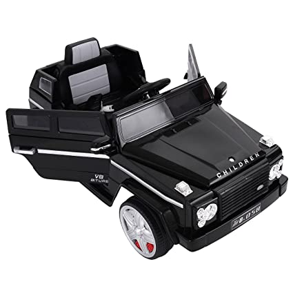 JAXPETY Black 12V MP3 Kids Ride On Truck Car Remote Control Battery W/LED  Lights