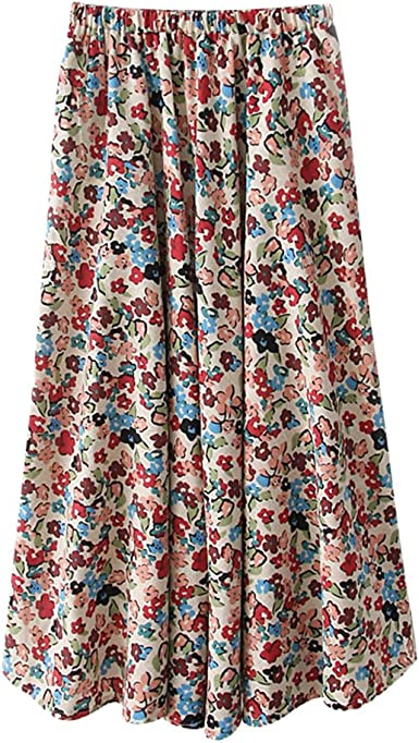 ZKOOO Estampado Floral Maxi Faldas para Mujeres Boho Larga ...