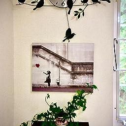 Amazon My Life Banksy Grafitti Girl With Red Balloon 木製の枠 キャンバス絵画 アートパネル インテリアアート 家の壁の装飾画 壁飾り 壁ポスター おしゃれ 壁アート写真の装飾画の壁画 白黒 ウォールステッカー オンライン通販