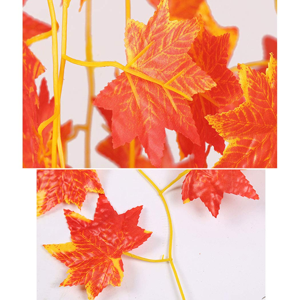 CozofLuv 12 Packs Autumn Garland #1 Artificial Maple Leaves Red Maple Fall Decoration Hanging Plant for Autumn and Thanksgiving