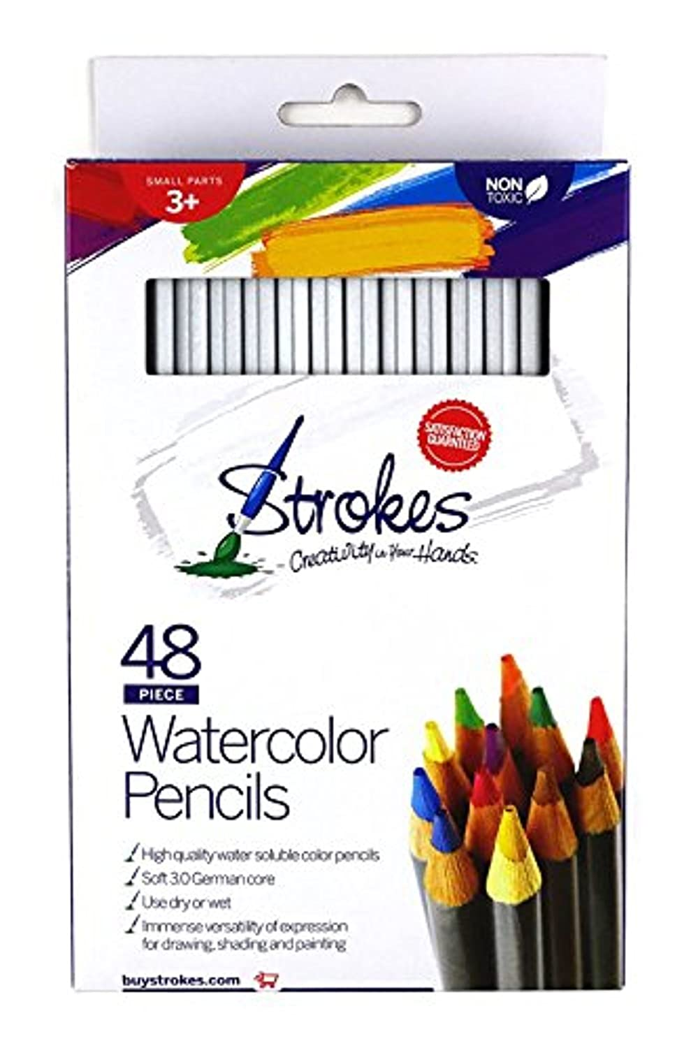 Soft German Core Strokes Art 48 Piece Artist Grade High Quality Watercolor Water Soluble Colored Pencil Set