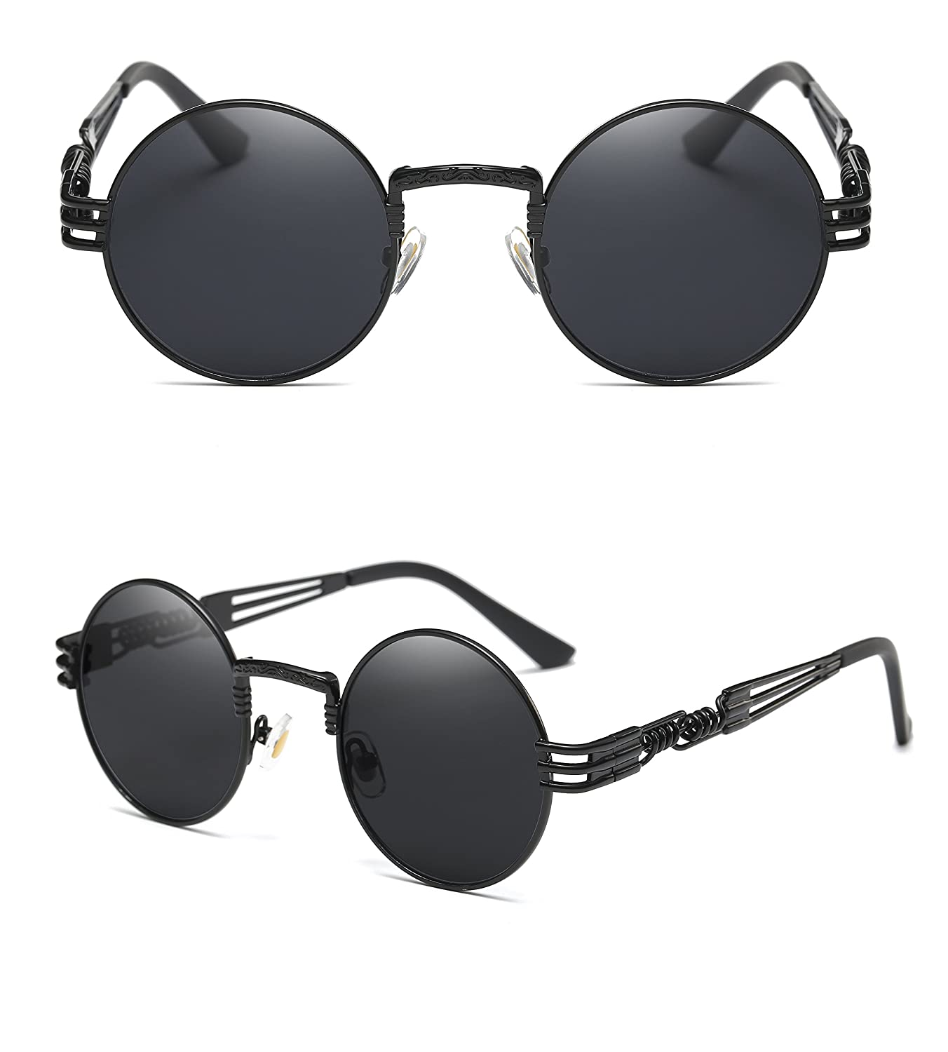 8fd21aecaa7 Amazon.com  GAMT John Lennon Glasses Quavo Steampunk Round Sunglasses  Circle Metal Frame Eyewear for Men and Women Black Frame Grey Lens  Shoes