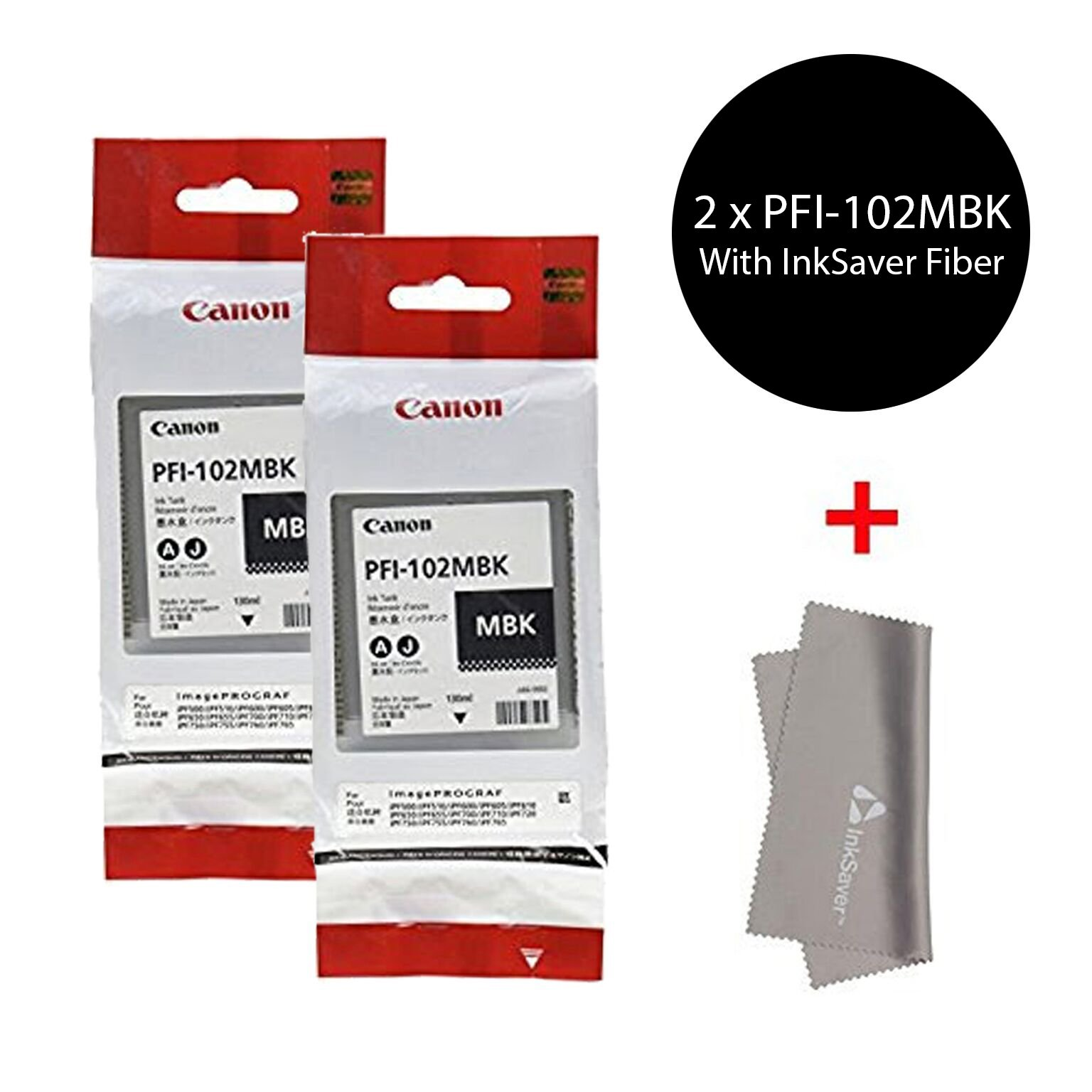 Original Canon 2 x PFI-102MBK Pigment Matte Black Ink Tank for the imagePROGRAF iPF500/600/700 Inkjet Printers, 130 ml.+ InkSAVER MicroFiber LCD Screen Cleaning Cloth