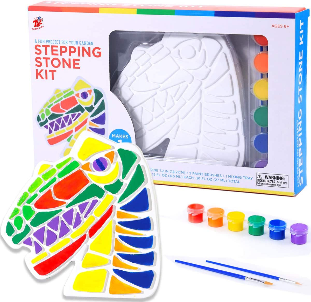 TBC The Best Crafts Stepping Stone Kit, Art and Crafts Gift for Kids 6,Dinosaur Molds,Perfect for Outdoor and School Activity