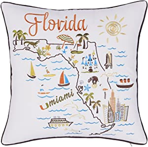 "EURASIA DECOR DecorHouzz Pillow Covers State/City Map Pillowcase Embroidered Cushion Cover Birthday Gift Graduation Gift New Home Gift 18""x18"" (Florida)"