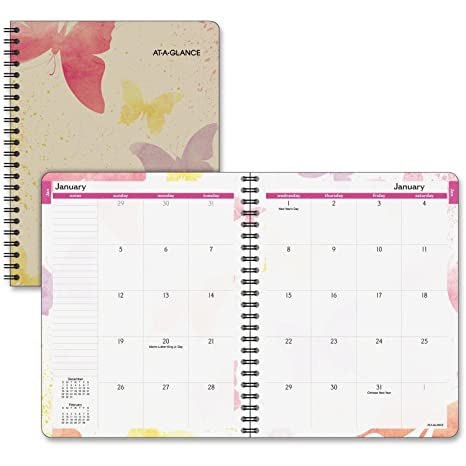 amazon com at a glance monthly planner 2017 watercolors 6 7 8 x