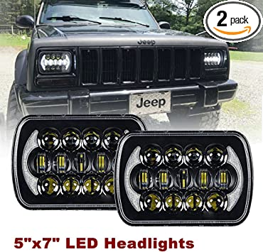 Pair 105W 5x7/'/' 7x6/'/' LED Headlight Hi-Lo Beam DRL For Jeep Cheorkee XJ YJ Truck
