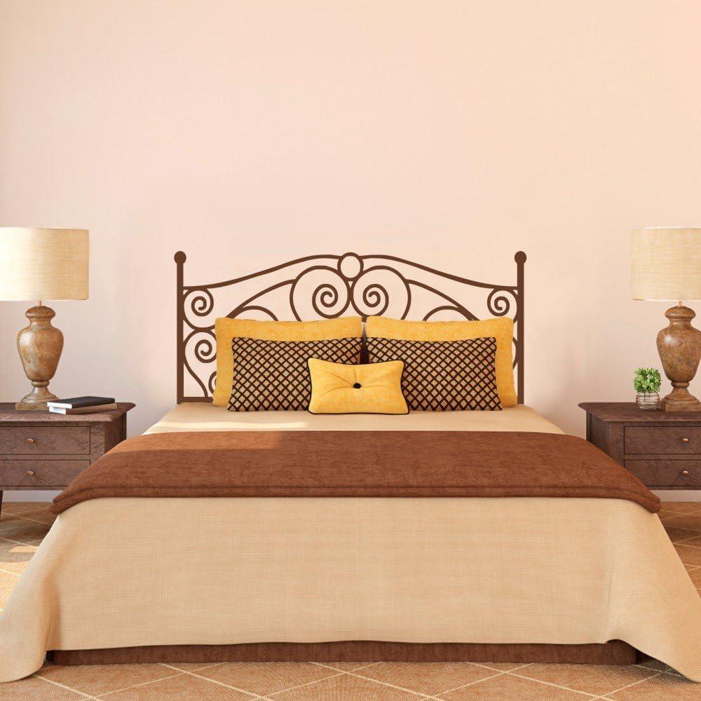 Hierro forjado cabecero corazón adhesivo para pared pared adhesivo dormitorio gráfico mural de pared decoración de la pared Scroll cabecero de cama cabecero de pared decoración, vinilo, marrón, 32h