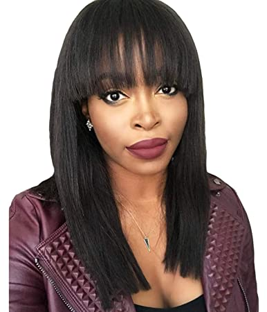 Maycaur Black Short Bob Straight Hair Wig Synthetic None Lace Front Wigs  Heat Resistant Fiber Hair Wig