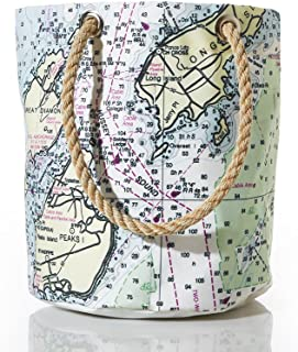 product image for Sea Bags Recycled Sail Cloth Casco Bay Nautical Chart Beverage Bucket Bag