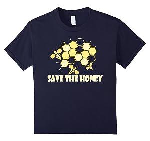 Kids Save The Honey Shirt - Beekeeper Tee HoneyBee Tshirt 12 Navy