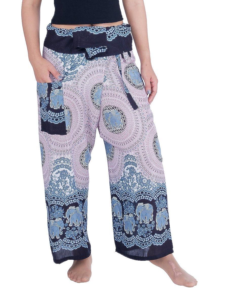 Black White Elephant pink Lannaclothesdesign Women's Thai Fisherman Pants Yoga Trousers Wide Legs Pants