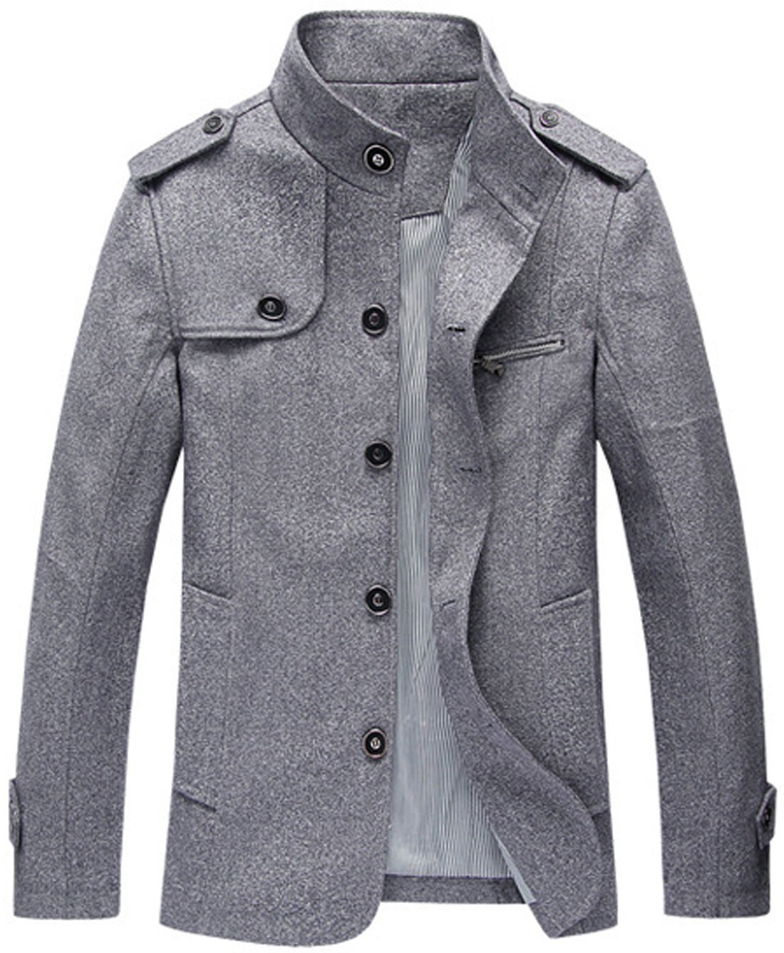 Chouyatou Men's Military Stylish Single Breasted Natural Fit Stripe Lined Wool Pea Coats (Medium, Grey)