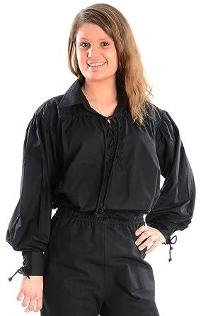 Kragen-Schnürbluse Piraten-Bluse schwarz S Baumwolle