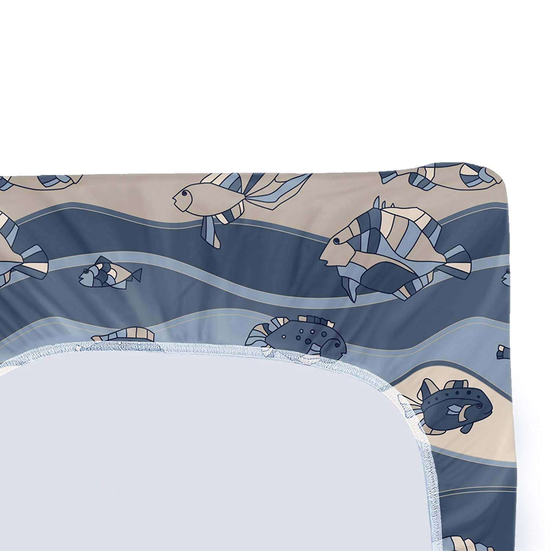 ABAKUHAUS Fisch Wickelkissen Wikelauflagenbezug Schiefer und Kadett-Blau Tan Weiches Wickeltischunterlage mit befestigungs l/öchern Cartoon Aquarium