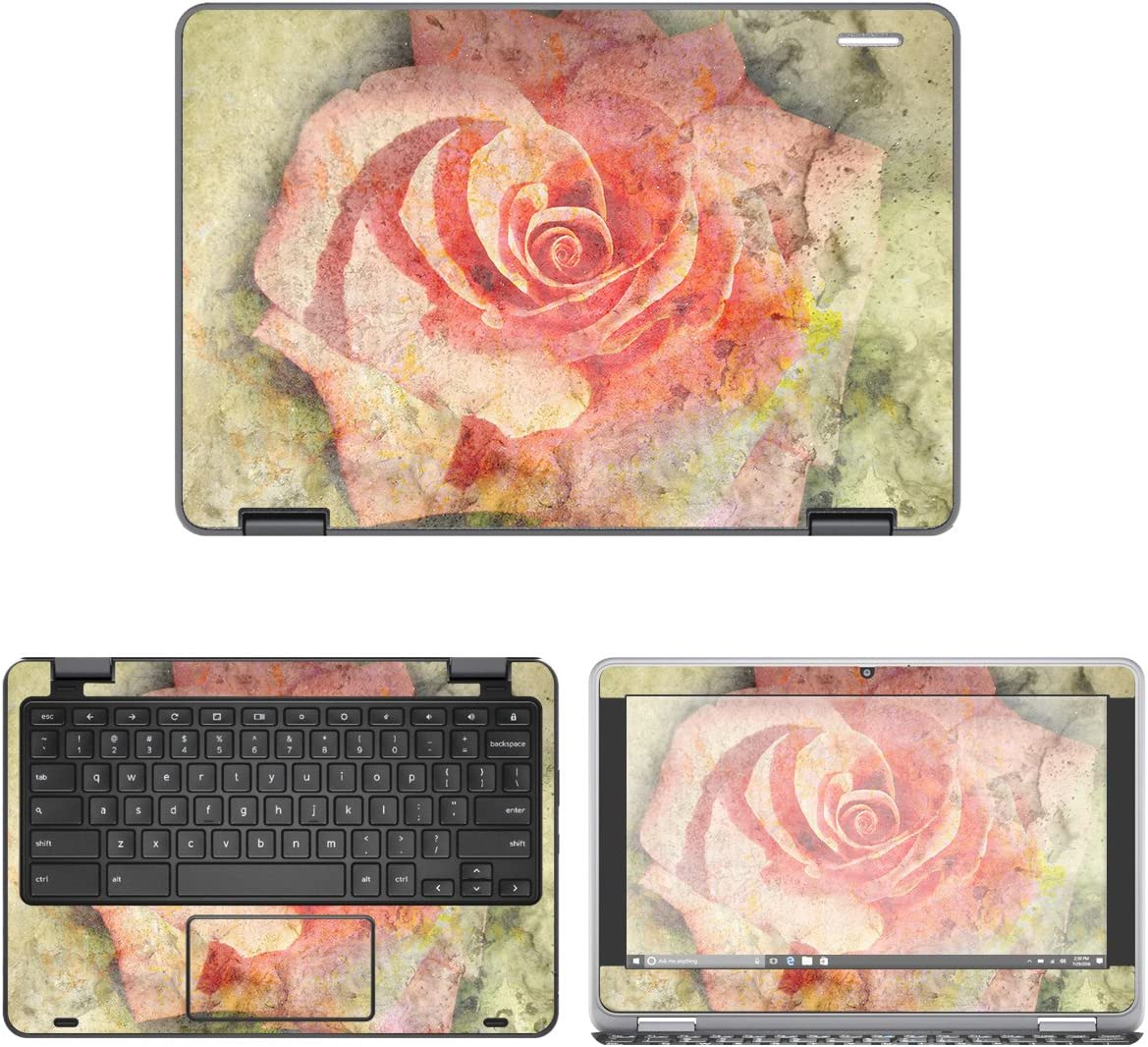 decalrus - Protective Decal Rose Skin Sticker for Dell ChromeBook 11 3189, 3181 (11.6