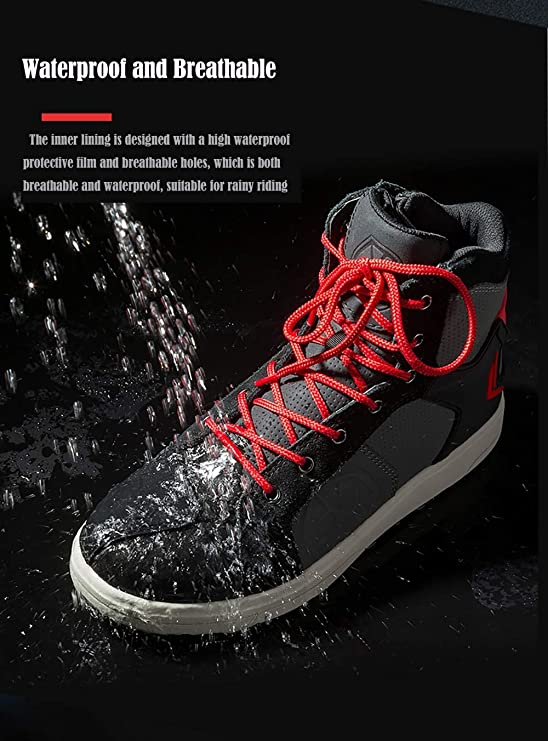 Black, US 7//EUR 40 SCOYCO Motorcycle Boots Waterproof Moto Motocross Boots Men Microfiber Leather Casual Shoes Breathable Motorbike Riding Shoes