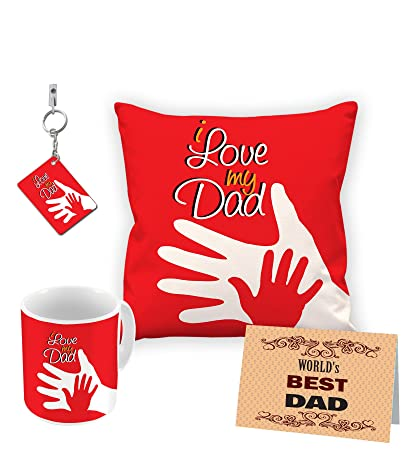 Buy Aart I Love My Dad Customize Gift Combo Cushion Cover with Filler, Mug,  Keyring and Greeting Cards Online at Low Prices in India - Amazon.in