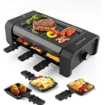 Techwood Raclette Grill Electric Tabletop Raclette Grill Raclette Party Grill 900W Adjustable Temperature Knob Non-Stick Grilling Surface