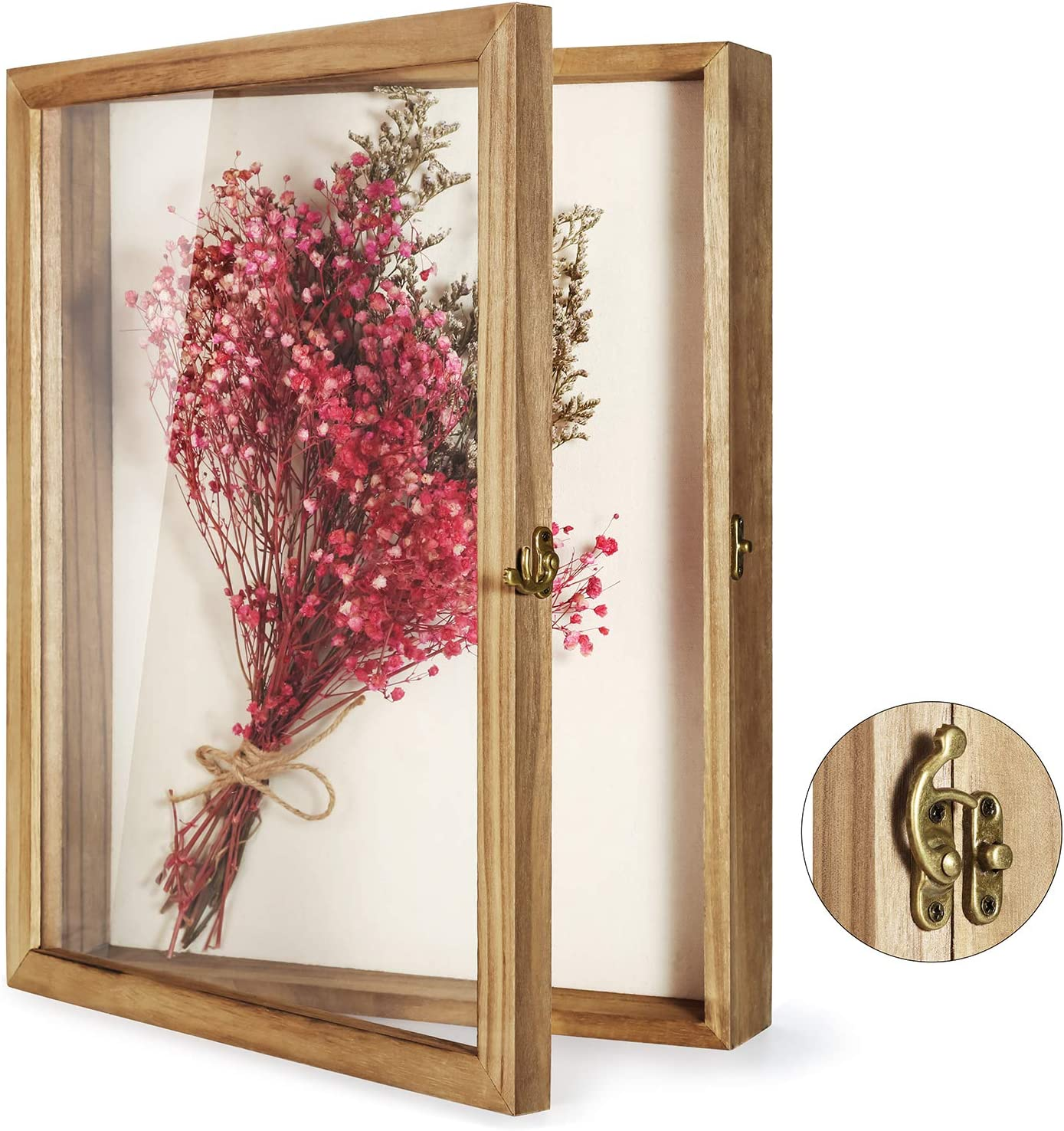 """TJ.MOREE Shadow Box Display Case 13"""" x 16"""" Flowers Shadow Box Frame with Glass Window Picture Frame Wedding Bouquet Memorabilia Medals Photos Memory Box for Keepsakes"""