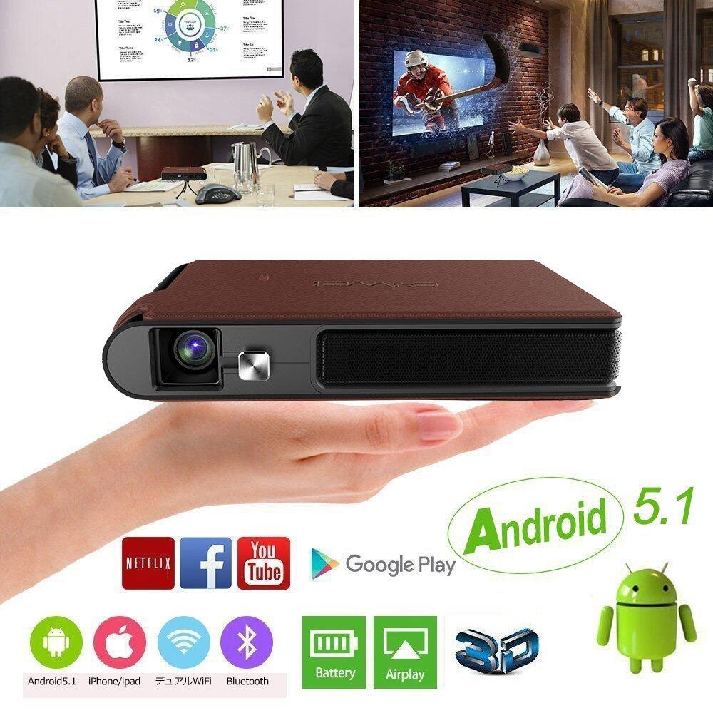 DLPミニプロジェクター WIFI Bluetooth対応 1600ルーメン 1080PフルHD 50000:1コントラスト バッテリ内蔵 自動手動台形補正機能 プレゼンホームシアター教育など適用(2018年版) B0135RREK8