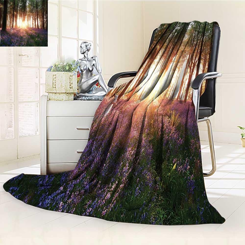 AmaPark Digital Printing Blanket Stunning Bluebell Woods Sunrise with White Rabbit Sunny Summer Quilt Comforter