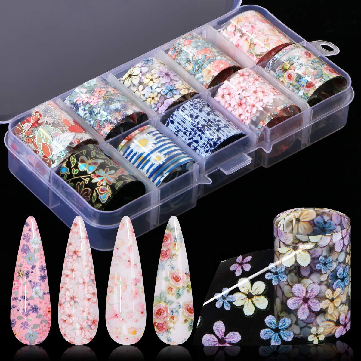 30 Color Nail Foil Transfer Sticker, Kissbuty Flower Nail Art Stickers Tips Wraps Foil Transfer Adhesive Glitters Acrylic DIY Nail Decoration, 3 Boxes (Flowers Starry Sky): Beauty