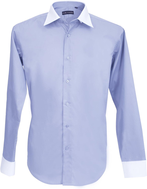 Fabio Farini camisa para hombre de rosa corbata azul de manga ...