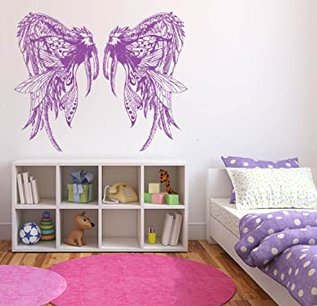 Amazon.com: Wall Sticker Decals Angel Wings Cute Feathers Kids Girls ...
