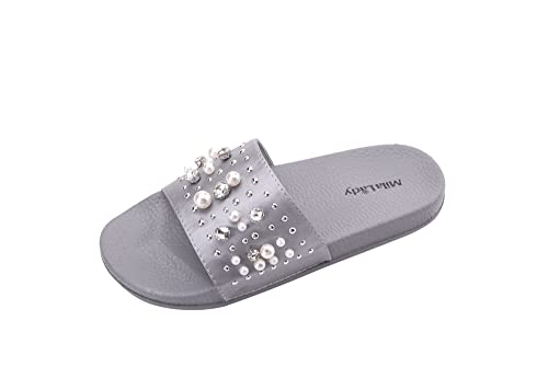 aab1fab52 Ashley A Collection Sandy Women s Fashion Slipper with Pearl and Rhinestone  Upper Slip On Silky Slide