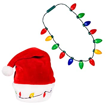 59a24ad9d8982 Blinking Light-up Plush Red Santa Hat + LED Christmas Bulb Necklace Kit for  Ugly
