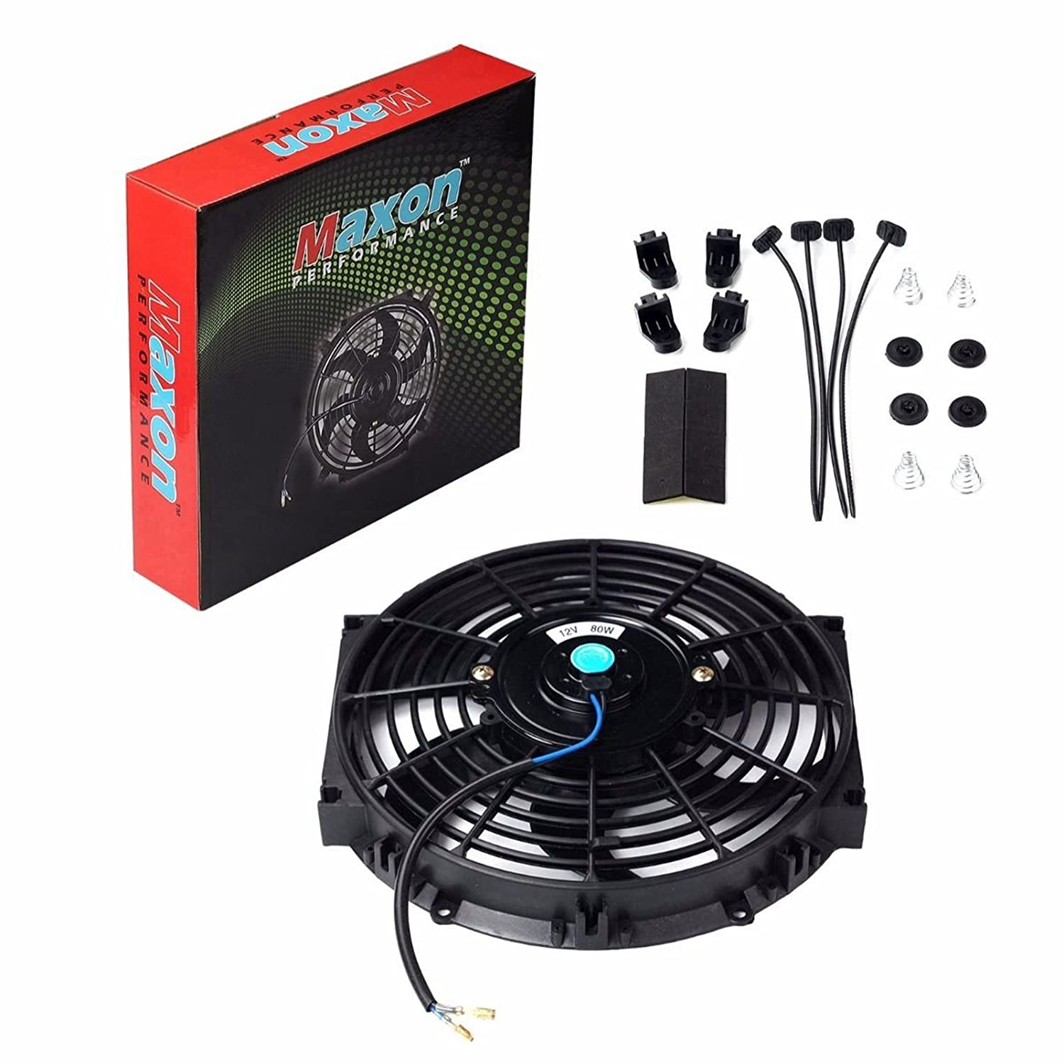 Universal 10 Inch Black Slim Fan Push Pull Electric 12v Computer Wire Diagram Radiator Cooling 80w Mount Kit Automotive