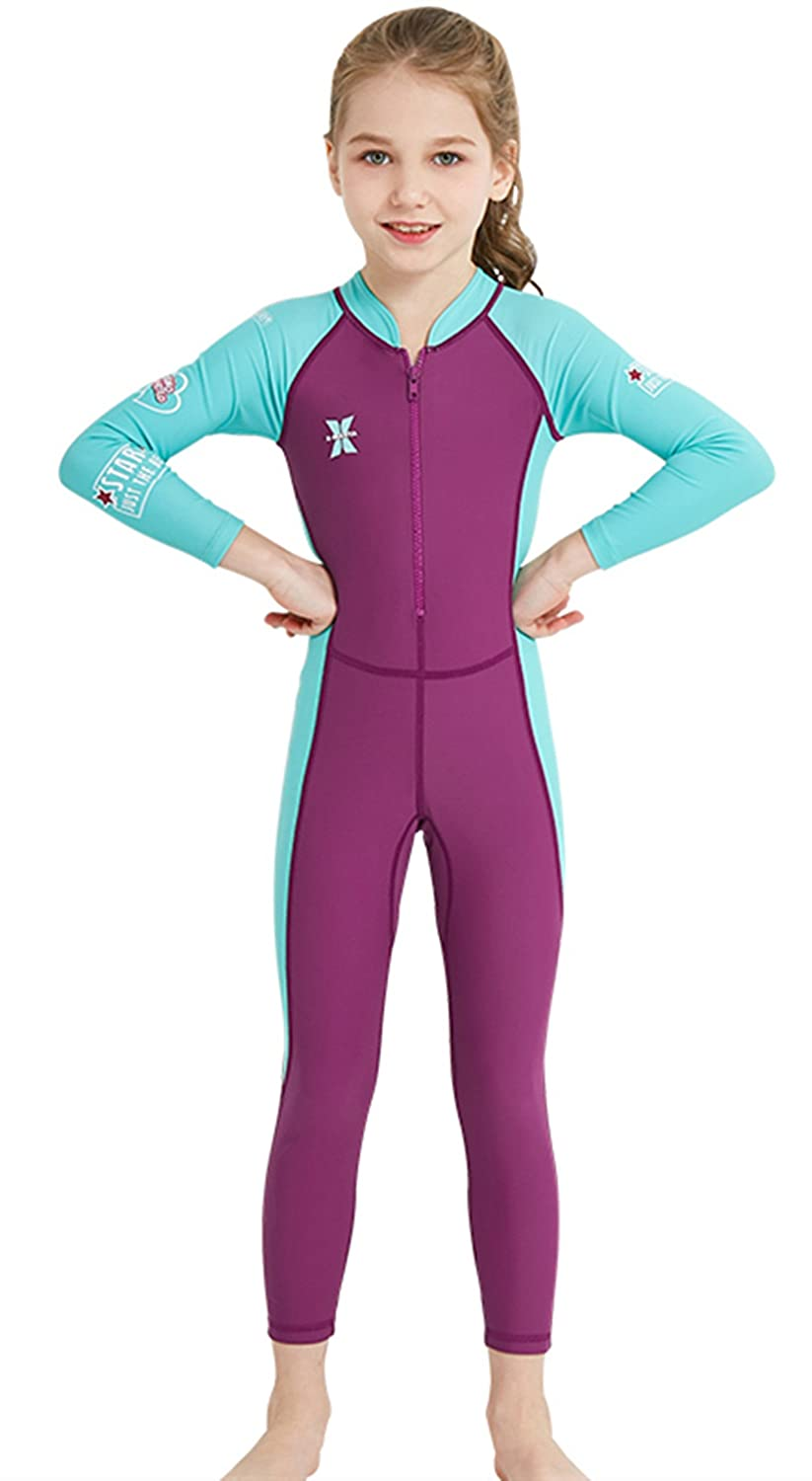 Boys Girls Kids Long Sleeve One-Piece Swimsuit Neoprene Wetsuits Summer Pink