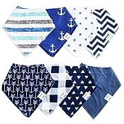 Organic Baby Bandana Drool Bibs – Blue/White 8-Pack Gift Set for Boy/Infant