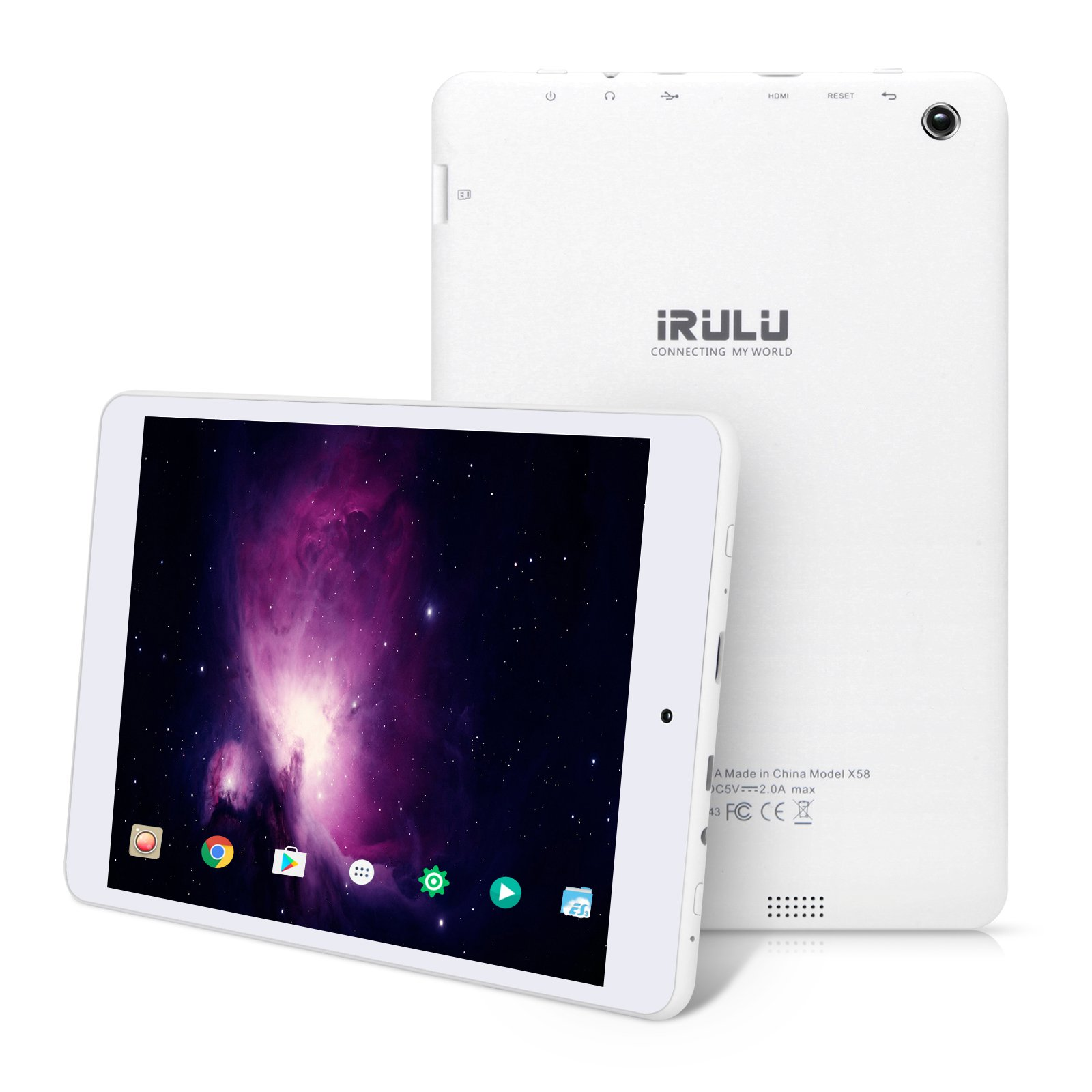 """7.85"""" Tablet Android Google 7.0, 1GB/16GB, 1.3gHz Quad Core,768x1024 IPS HD Display,Dual Camera, Microsoft Mini HDMI Bluetooth G-Sensor Supported,GMS Certified,iRULU eXpro 5 S Tablet (X5 S)-White by iRULU (Image #9)"""