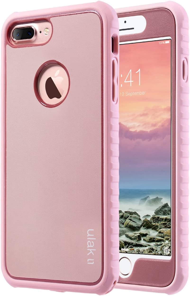 ULAK iPhone 7 Plus Case, Shockproof Flexible TPU Bumper Case Front and Back Protection, Durable Anti-Slip Slim Lightweight Protective Phone Cover for iPhone 7 Plus 5.5 inch, Rose Gold