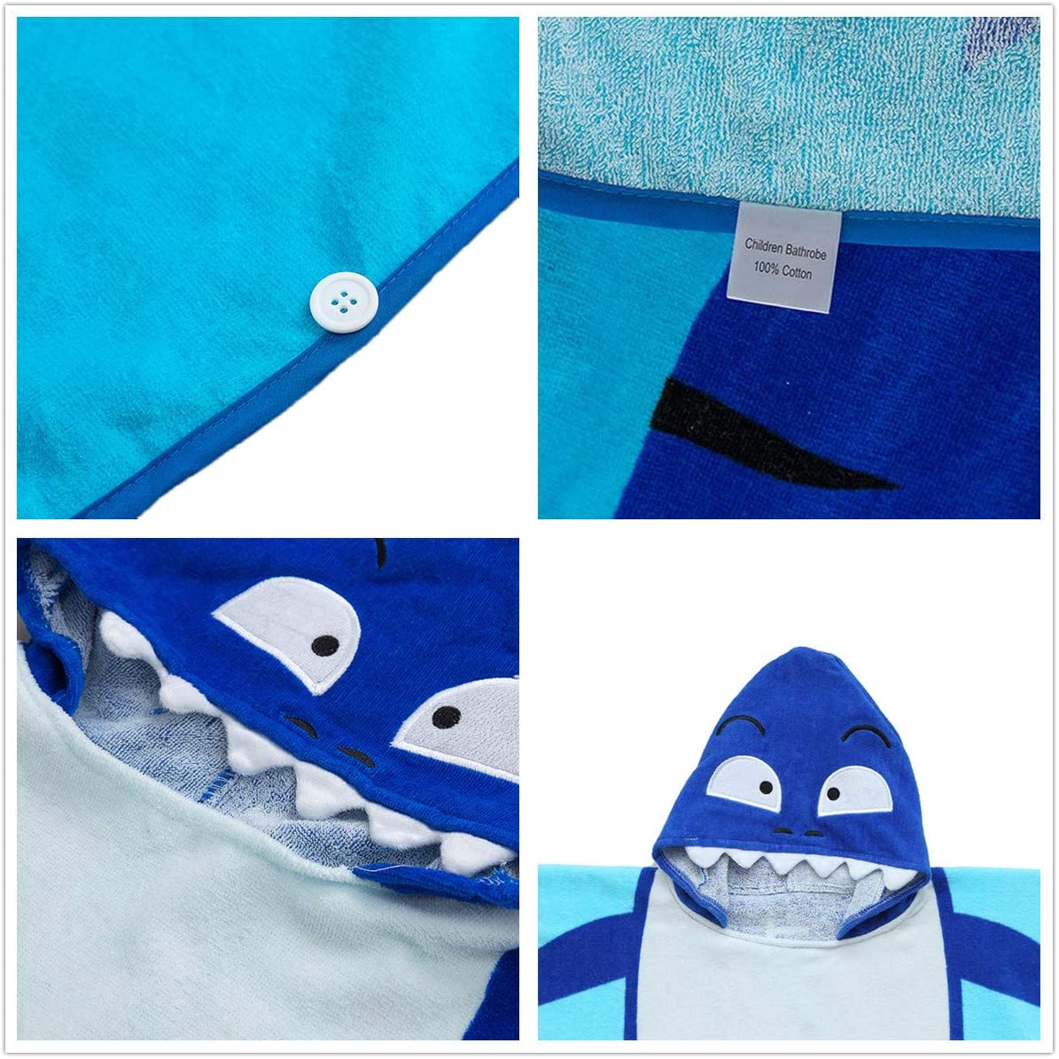 Cute Shark Hooded Beach Towel OldPAPA Hooded towels for kids Super Soft Cotton Bathrobe Poncho for Little Boy Girl Idea for Gift
