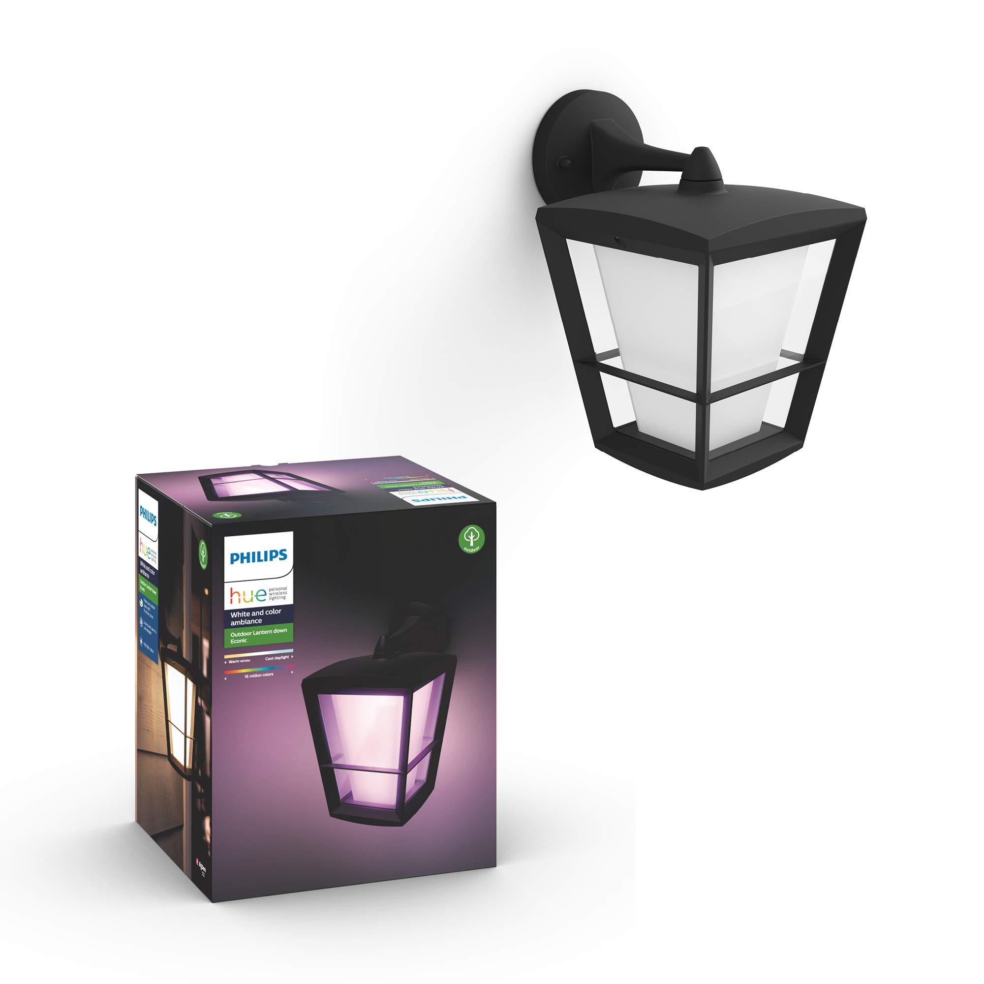 Philips Hue Econic Smart Outdoor White & Color Wall Lantern, Down (Hue Hub Required, Smart Light Works with Alexa, Apple Homekit & Google Assistant) by Philips Hue