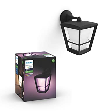 Philips Hue 1744030V7 White & Color Ambiance Econic Wall Down Lantern, Black