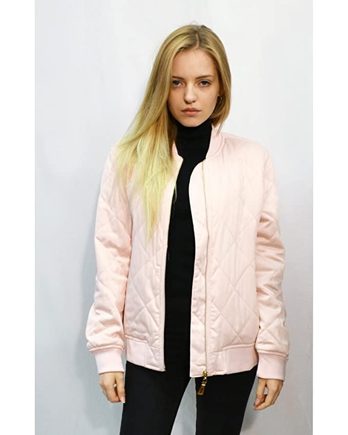 Oversized Quilted Satin Puffer Bomber Jacket black Pink White color