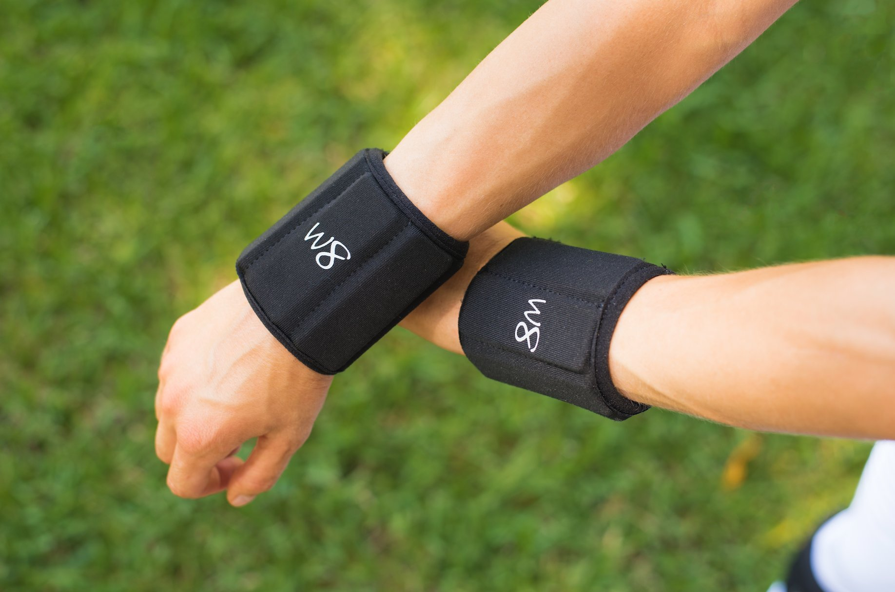 W8FIT 1 LB Set of 2 Adjustable Weighted Wrist Cuffs (Black, Large)