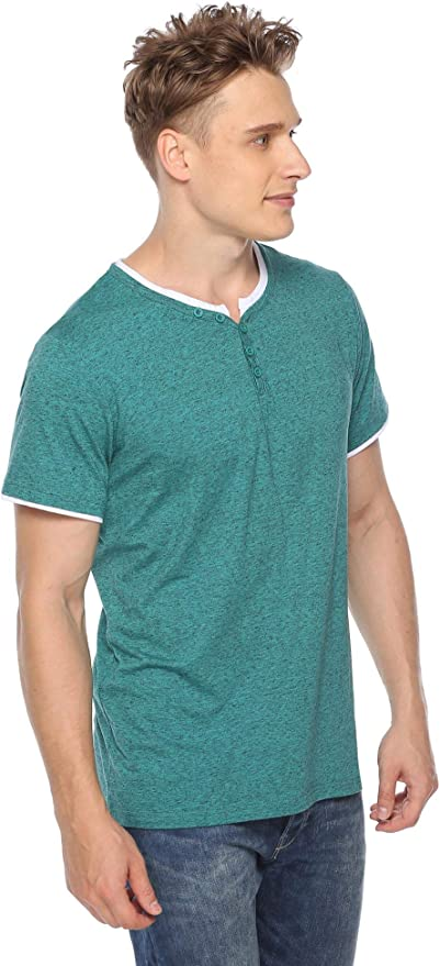 YUNY Men Solid Color Short-Sleeve Summer with Pockets Polo Shirt S Black