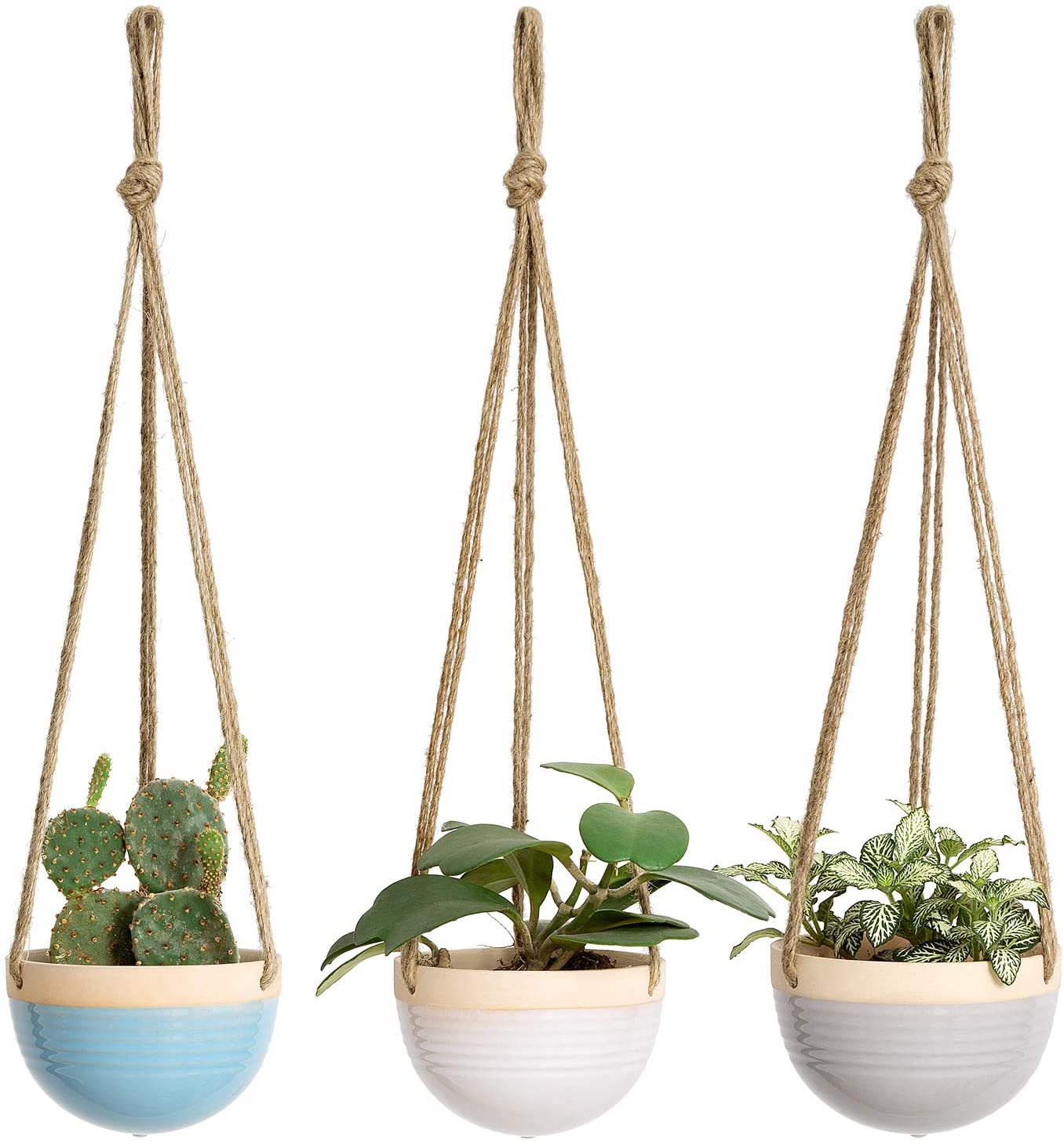 Mkono 4 5 Inch Ceramic Hanging Planter Set Of 3 Colorful Flower Plant Pots Round Plant Holder With Jute Rope Hanger For Indoor Succulent Herbs Ivy Ferns Crawling Plants Blue White And