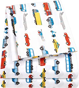 1500 Supreme Kids Bed Sheet Collection - Fun Colorful and Comfortable Boys and Girls Toddler Sheet Sets - Deep Pocket Wrinkle Free Hypoallergenic Soft and Cozy Bedding - Full, Transportation