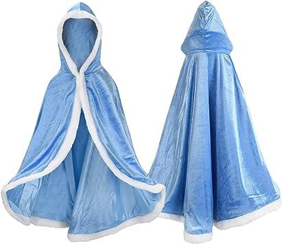 Oferta amazon: Proumhang Disfraz de Princesa Capa de Princesa para Niñas Disfraces para Halloween Trajes de Navidad Azul 150 para 7-8 años