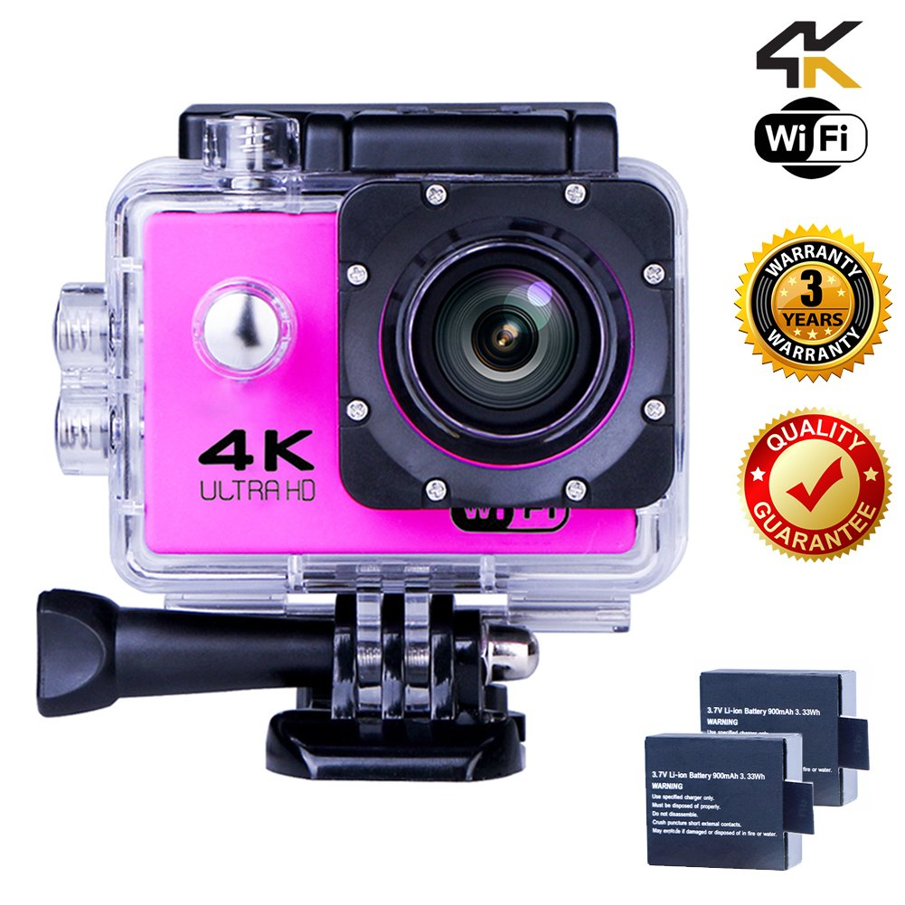 Action Camera 4K WIFI Sports Camera 12 MP Underwater Video waterproof Camcorder HD 1080P and 2 Batteries 170° Wide-Angle Pink