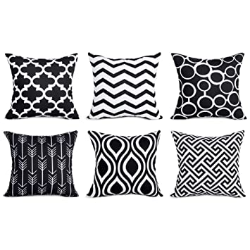 Fabulous Top Finel 100 Durable Canvas Square Decorative Throw Pillows Cushion Covers Pillowcases For Sofa Set Of 6 1818 Inch Black Uwap Interior Chair Design Uwaporg